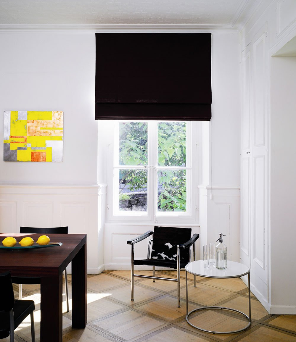 Dark Roman Blinds with Mix Fabric