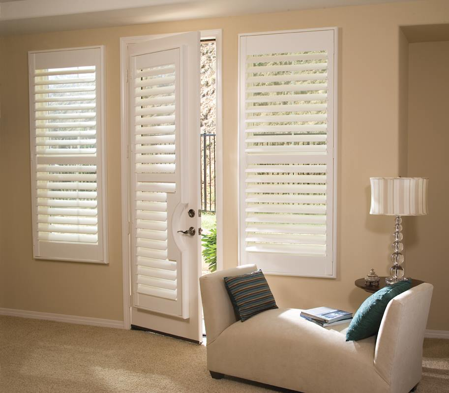 White Venetian Blinds on French Door