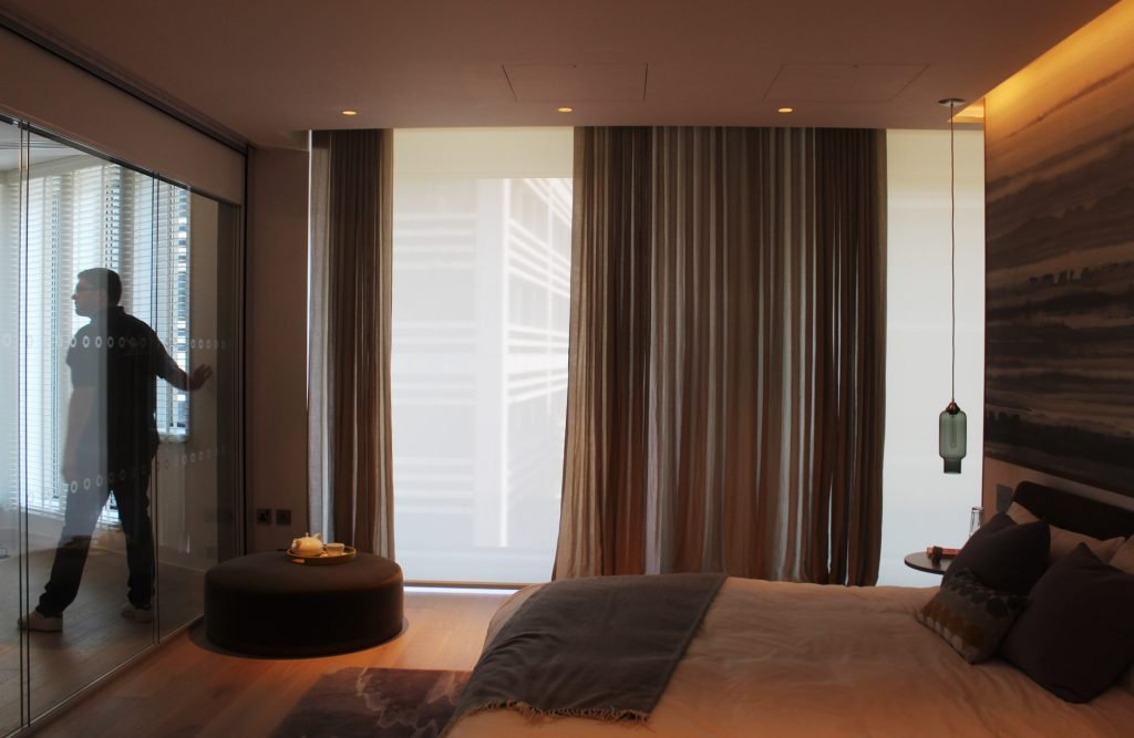 Lutron sheer curtains and roller blinds