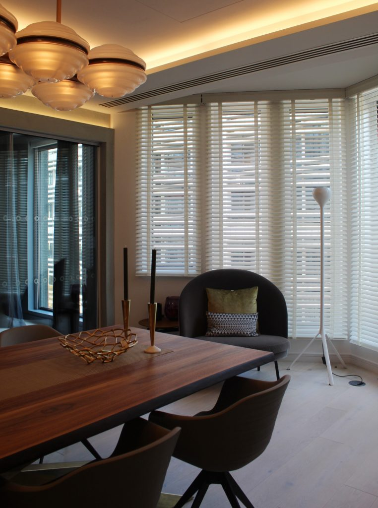 Lutron Venetian white wooden blinds