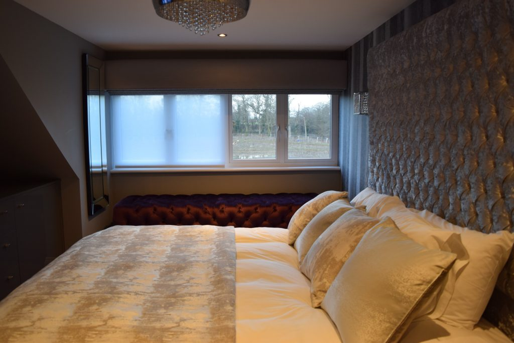 Main Bedroom with sheer roller blinds closed
