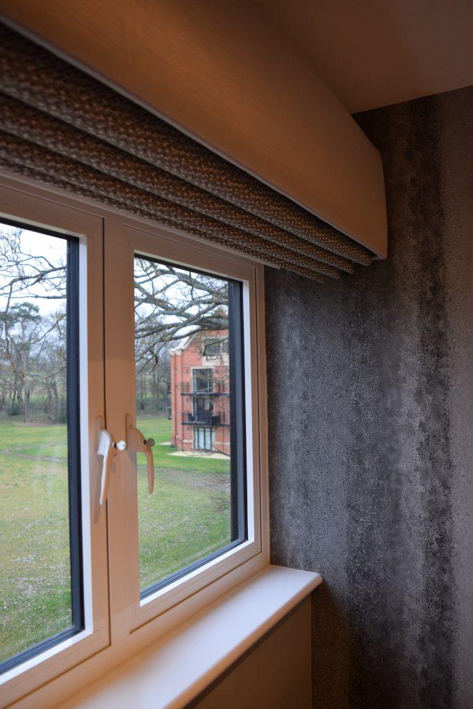 Bedroom with roman blinds open - closeup