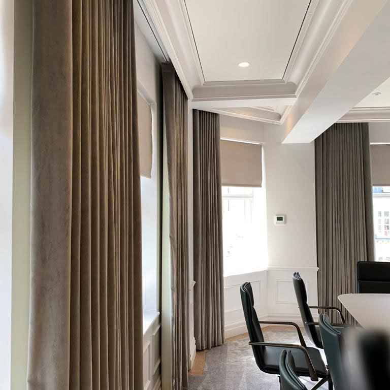 Handmade Curtains on Lutron Tracks and Lutron Roller Blinds-02